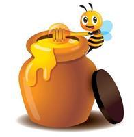 dessin animé mignon abeille utiliser une louche de miel pour prendre le miel du pot de miel vecteur