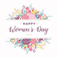 Journée internationale de la femme. Modèle vectoriel avec des fleurs et des lettres.