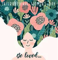 Journée internationale de la femme. Modèle de vecteur avec une femme mignonne.