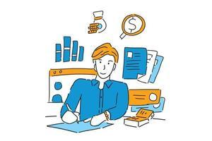 homme d'affaires écrit le rapport illustration main dessiner vecteur