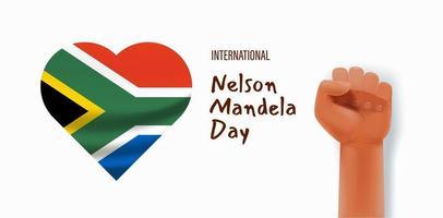 concept de vecteur de jour international nelson mandela avec drapeau et silhouette continent afrique