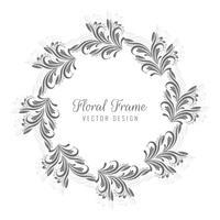Conception de cadre floral circulaire décoratif vecteur