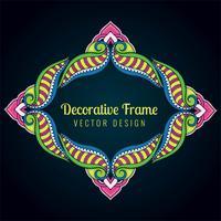 Oeuvre artistique décorative, conception de cadre floral coloré vecteur