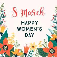 Journée internationale de la femme. Modèle de vecteur avec des fleurs.