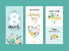 Journée internationale de la femme. Modèles de vecteur avec des fleurs et des lettres.