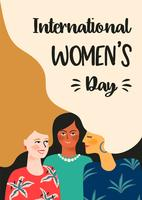 Journée internationale des femmes. Modèle de vecteur avec les femmes.