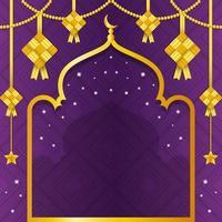 fond de ketupat violet dégradé avec des reflets dorés vecteur