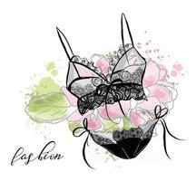 croquis de mode lingerie sexy en dentelle pour femmes, soutien-gorge et culotte. fond de fleur. vecteur