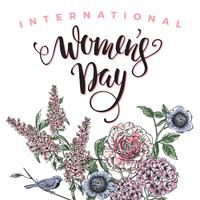 Journée internationale des femmes. Lettrage design avec des fleurs vecteur