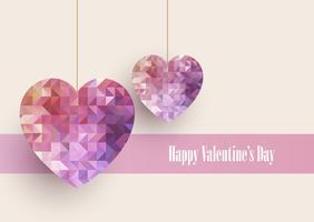 Fond Saint-Valentin avec des coeurs low poly