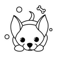 icône d'illustration vectorielle de dessin animé mignon d'un chien chiot chihuahua. c'est le style de contour. vecteur