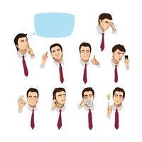 ensemble de portraits d'un homme d'affaires avec différentes émotions et actions vecteur