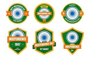 jeu d'insignes d'indépendance de l'inde vecteur