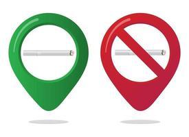 signe d'icône de broche de carte de marqueur de zone non fumeur et fumeur serti de cigarette de style dégradé de conception plate dans le cercle rouge interdit. symbole de la zone fumeurs dans les applications de carte isolées sur fond blanc vecteur