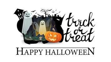 joyeux halloween, trick or treat, bannière pour votre créativité isolée sur fond blanc. logo avec silhouette d'un cimetière et portail avec fantômes et citrouille jack vecteur