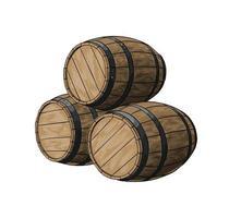 tonneau en bois pour le vin ou d'autres boissons à partir d'une touche d'aquarelle, dessin coloré, réaliste. illustration vectorielle de peintures vecteur