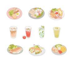 délicieux menus de brunch sur une assiette. illustrations de conception de vecteur de style dessinés à la main.