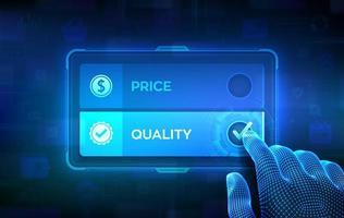 concept de choix de prix ou de qualité. Prendre une décision. meilleur rapport qualité-prix et qualités supérieures ou premium. main filaire sur écran tactile virtuel en cochant la case sur le bouton de qualité. vecteur