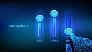 notion de rentabilité. panneau de contrôle des processus métier pour les ventes, la marge et les coûts. filaire main ajuster un mélangeur de niveaux de rentabilité. console de mixage. croissance des bénéfices et des affaires. vecteur