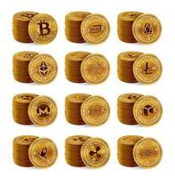 Ensemble de piles de pièces physiques de crypto-monnaie. 3d pièces de monnaie crypto doré isolés sur fond blanc. bitcoin, ripple, ethereum, litecoin, monero et autres. vecteur