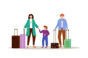 famille avec illustration vectorielle plane de bagages. se préparer pour le voyage. couple marié avec des valises. partir en vacances. personnage de dessin animé isolé préparation voyage sur fond blanc vecteur
