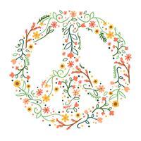 Signe de paix floral mignon vecteur