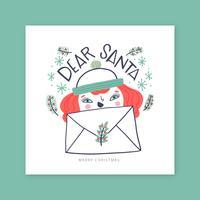 Carte de Noël avec une fille au gingembre pour le père Noël