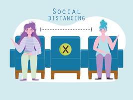 distanciation sociale société publique vecteur