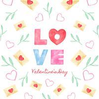 Lettrage mignon sur l'amour avec lettre d'amour, feuilles et coeur.