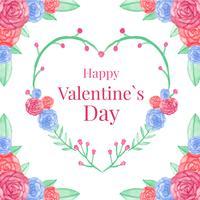 Joli coeur floral de valentine vecteur