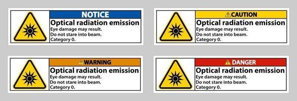 Signe de symbole d'émission de rayonnement optique isoler sur fond blanc vecteur