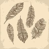 Motif ethnique plumes vintage, design tribal, tatouage vecteur