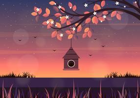 Illustration de vecteur printemps paysage