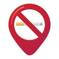 signe d'icône d'épingle de carte de marqueur de zone non fumeur avec une cigarette de style dégradé de conception plate dans le cercle rouge interdit interdit. symbole de la zone non fumeur dans les applications de carte isolées sur fond blanc vecteur