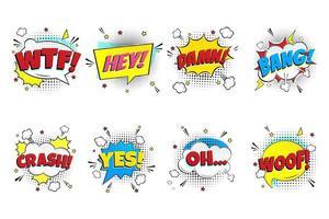 jeu de lettrage comique. ouais, omg, boum, wow, ok, pow, surprise, oups dans le design plat de style bande dessinée de bulles de discours. illustration pop art dynamique isolée sur fond blanc. notion d'exclamation vecteur