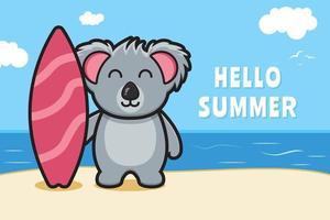koala mignon tenant une planche de natation avec une illustration d'icône de vecteur de dessin animé de bannière de voeux d'été