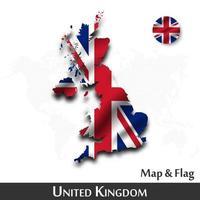 carte et drapeau du royaume-uni de grande-bretagne. onduler la conception textile. fond de carte du monde de points. vecteur. vecteur
