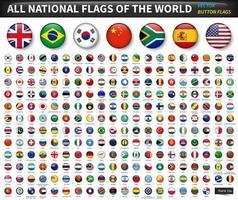 tous les drapeaux nationaux du monde sont fixés. conception de bouton convexe en cercle. vecteur d'éléments.