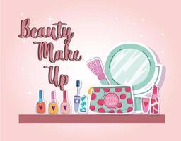 maquillage beauté pinceau miroir rouge à lèvres mascara et vernis à ongles vecteur