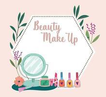 maquillage beauté pinceau miroir vernis à ongles et rouge à lèvres vecteur