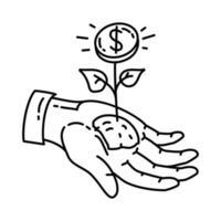 icône de valeur. doodle dessinés à la main ou style d'icône de contour vecteur