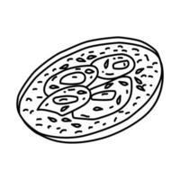 icône de la piperade. doodle dessinés à la main ou style d'icône de contour vecteur