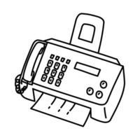 icône de télécopieur. doodle dessinés à la main ou style d'icône de contour vecteur