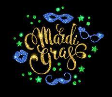 Mardi Gras. Motif de lettrage scintillant pour bannières, flyers, pla
