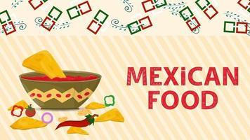 illustration de bannière pour un design dans un style plat sur le thème de la nourriture mexicaine nom d'inscription grande tasse de sauce salsa vecteur