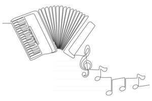 dessin au trait continu d'un instrument de musique accordéon avec illustration vectorielle de notes d'instrument vecteur