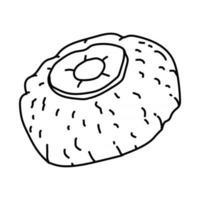 icône de poisson gefilte. doodle dessinés à la main ou style d'icône de contour vecteur