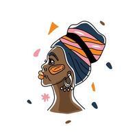 portrait dans une femme africaine turban, droits de l'homme, lutte contre le racisme. dessin au trait, style minimalisme. illustration du mois de l'histoire des noirs. vecteur