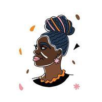 portrait belle femme africaine, droits de l'homme, lutte contre le racisme. dessin au trait, style minimalisme. illustration du mois de l'histoire des noirs. vecteur