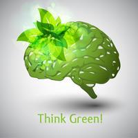 Pensez à l'environnement! Cerveau vecteur